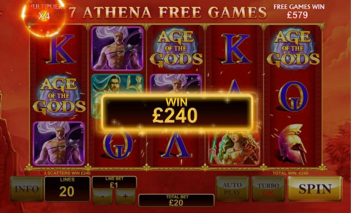 Multiple winning paylines triggers a 240.00 big win during Athena Free Games feature! by No Deposit Casino Guide