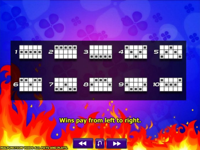 Payline Diagrams 1-10. Wins pay from left to right. - No Deposit Casino Guide