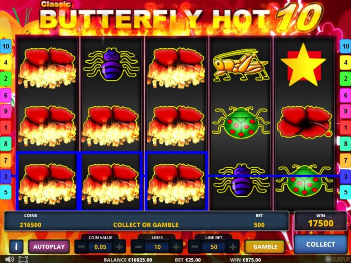 A 17500 Super Win triggered by multiple winning combinations of red flowers. by No Deposit Casino Guide