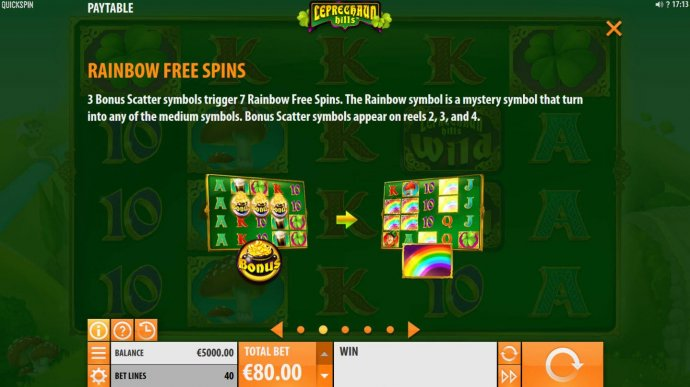 No Deposit Casino Guide - 3 Bonus Scatter symbols trigger 7 Rainbow Free Spins. The rainbow symbol is a mystery symbol that turns into any of the medium symbols. Bonus Scatter symbols appear on reels 2, 3 and 4.