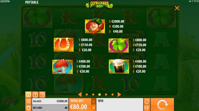 High value slot game symbols paytable featuring leprechaun inspired icons. - No Deposit Casino Guide