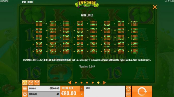 No Deposit Casino Guide - Payline Diagrams 1-40. Bet line wins pay if in succession from leftmost to right.
