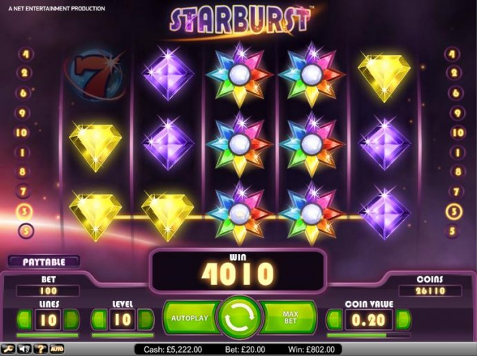 Starburst big win payout of 4010 credits - No Deposit Casino Guide