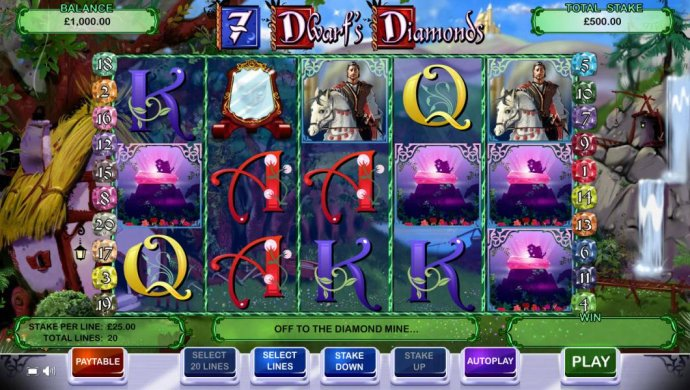 Main game board featuring five reels and 20 paylines with a 10,000x max payout - No Deposit Casino Guide
