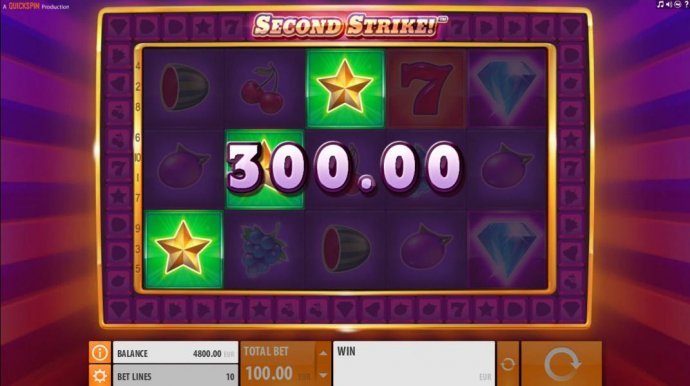 Three gold star symbols trigger a 300.00 big win and initiate the Second Strike Feature. by No Deposit Casino Guide