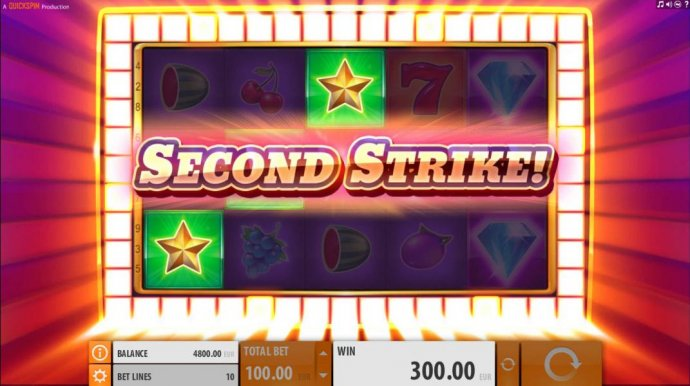 Second Strike feature is triggered and extra symbols will be added to the reels increasing your chance for a larger win - No Deposit Casino Guide