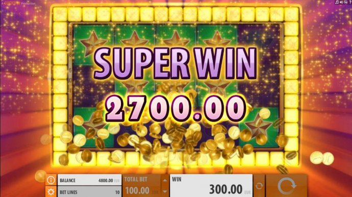 A 2700 Super Win is triggered with the placement of the additonal star symbols. by No Deposit Casino Guide