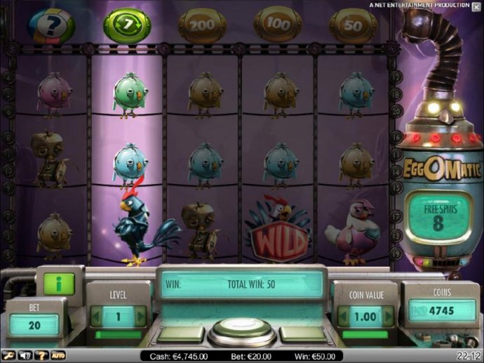 No Deposit Casino Guide - the eggomatic placing the eggs along the top of the game board. free spins can be retriggered