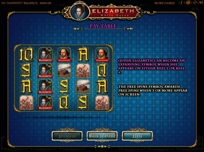 Queen Elizabeth can become expanding symbol when she appears on either reel 2 or reel 4. by No Deposit Casino Guide