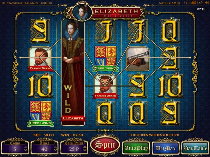 Stacked wild symbol on reel 2 triggers multiple winning paylines leading to a 112,50 payout. by No Deposit Casino Guide