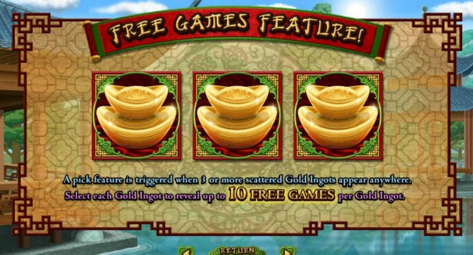 No Deposit Casino Guide - Free Games Feature. A pick feature is triggered when three or more scattered Gold Ingots appear anywhere. Select each Gold Ingot to reveal up to 10 Free Games per Gold Ingot.