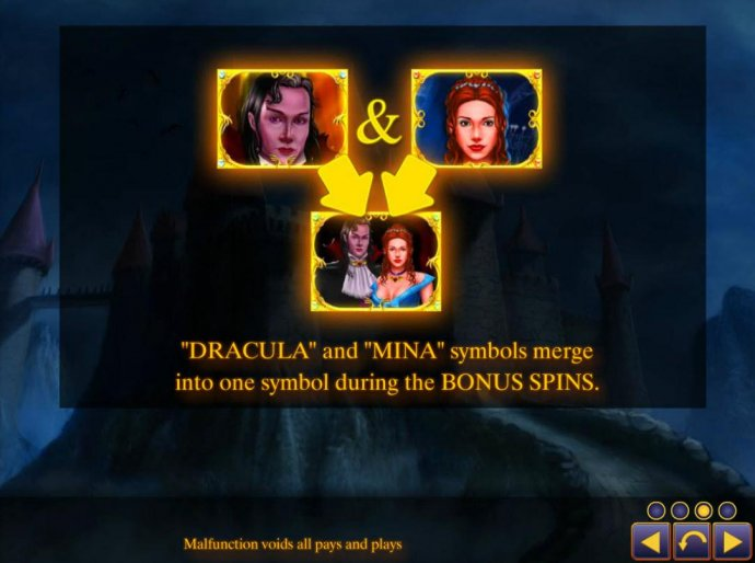 Dracula nd Mina symbols merge into one symbol during the Bonus Spins. by No Deposit Casino Guide