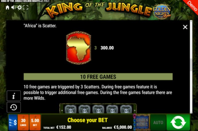 No Deposit Casino Guide image of King of the Jungle Golden Nights Bonus