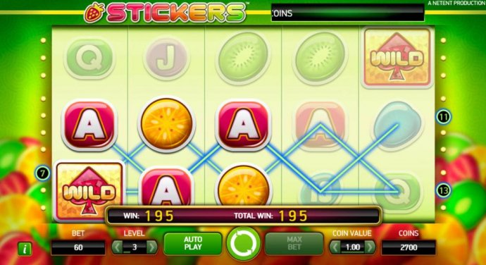 A pair of winning paylines triggers a 195 coin payout. by No Deposit Casino Guide