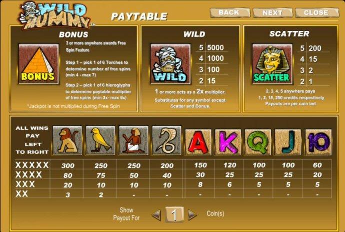 No Deposit Casino Guide - bonus, wild, scatter and slot game symbols paytable