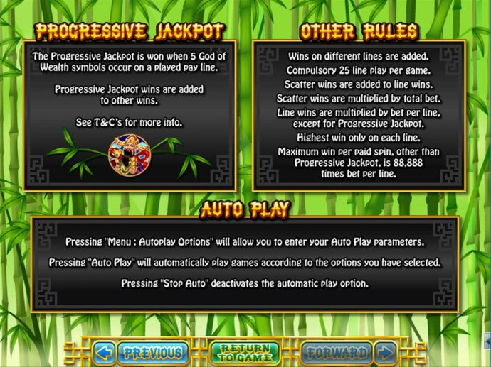 No Deposit Casino Guide - Progressive jackpot is won when 5 God of Wealth symbols occur on a played payline.