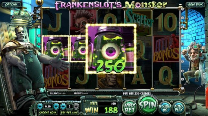 An eyeball three of a kind triggers a 250 coin jackpot. by No Deposit Casino Guide