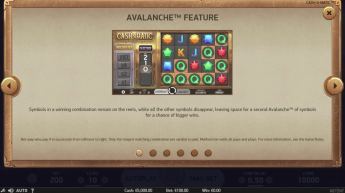 Avalanche Feature by No Deposit Casino Guide
