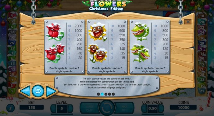 High value slot game symbols paytable - symbols include a rose, a sunflower and venus flytraps. Double symbols count as 2 syngle symbols. - No Deposit Casino Guide