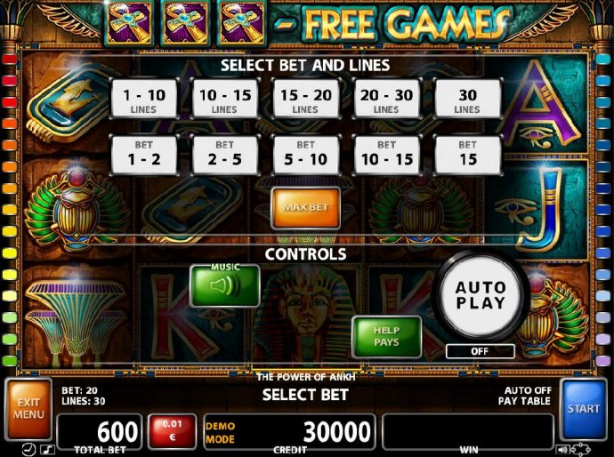 Select Bet and Lines - 1 to 30 Lines and 1 to 15 coins per line. by No Deposit Casino Guide