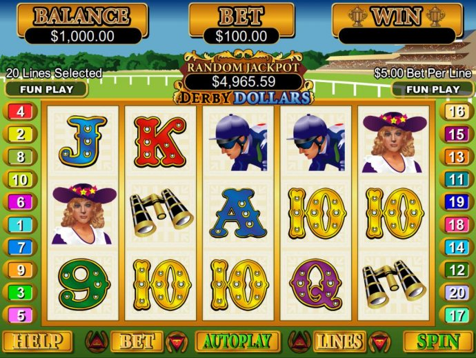 No Deposit Casino Guide - A horse racing themed main game board featuring five reels and 20 paylines with a $250,000 max payout