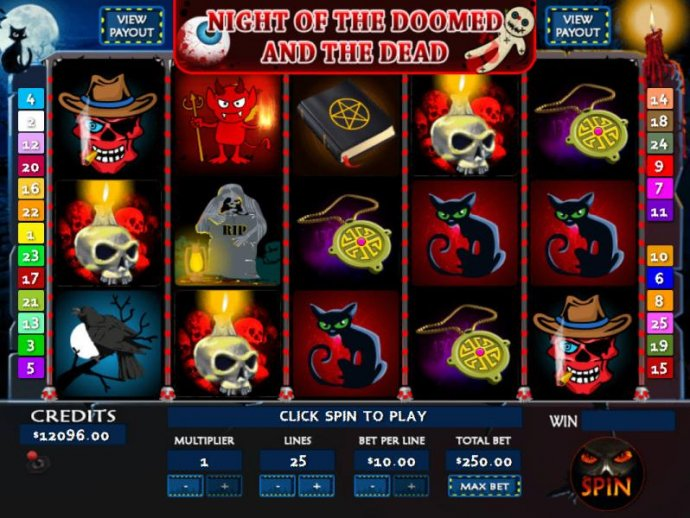 No Deposit Casino Guide - Main game board featuring five reels and 25 paylines with a Jackpot max payout
