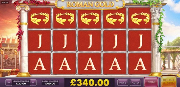 The triple 5 of a kind pays out a 340.00 prize award. - No Deposit Casino Guide