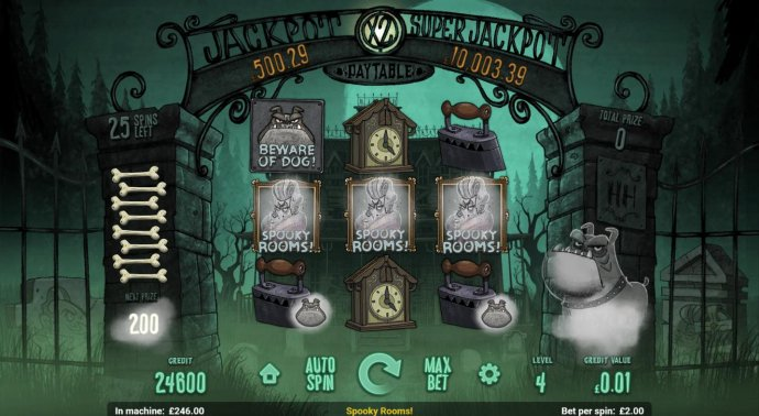 Spooky Rooms feature triggered during the Beware of the Dog feature. - No Deposit Casino Guide