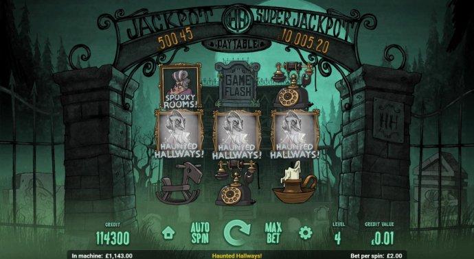 No Deposit Casino Guide - Haunted Hallways bonus feature triggered.