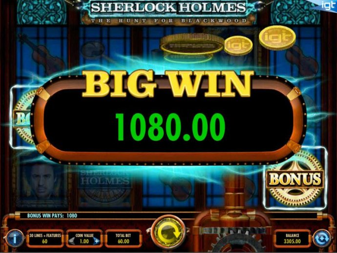 A 1,080.00 big win awarded for the free spins feature. by No Deposit Casino Guide