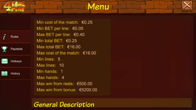 4 Fowl Play by No Deposit Casino Guide