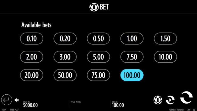 Available Bets - from 0.10 to 100.00 by No Deposit Casino Guide
