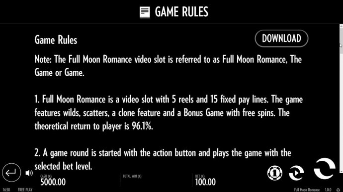 Full Moon Romance by No Deposit Casino Guide