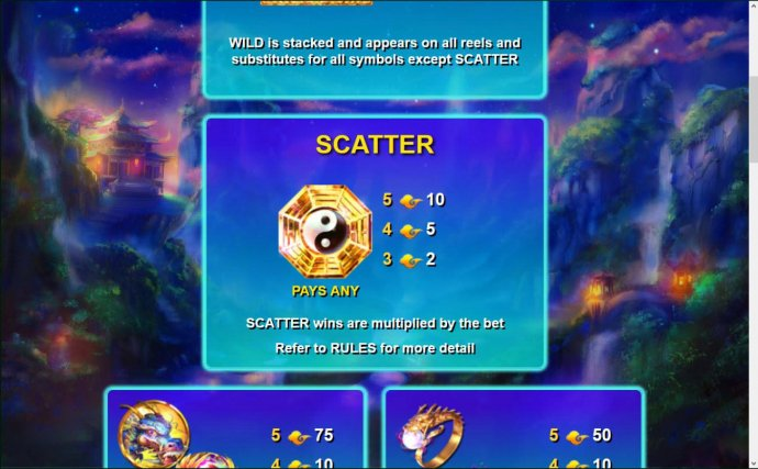 The scatter symbol is represented by the Yin-Yang symbol. Scatter wins are multiplied by the bet. by No Deposit Casino Guide