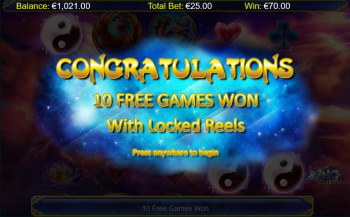 10 free games with locked reels awarded. - No Deposit Casino Guide