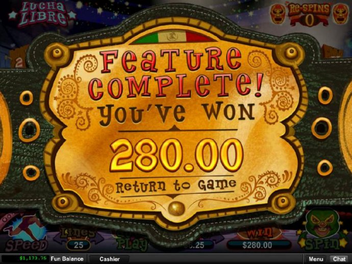 Feature completed and paid out a total of 280.00 for a big win. by No Deposit Casino Guide