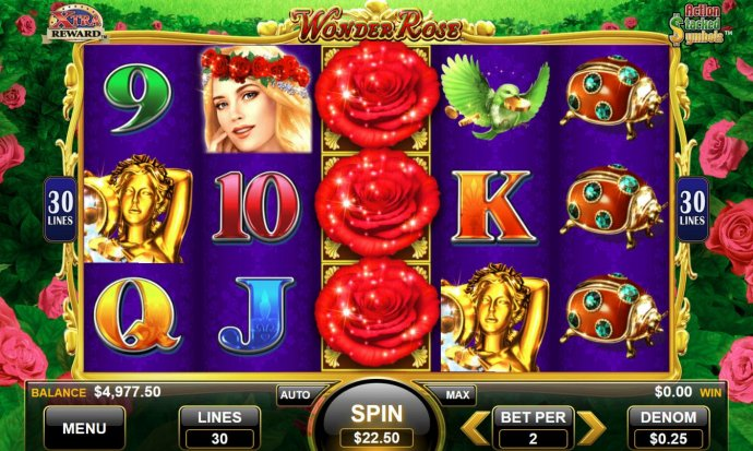 No Deposit Casino Guide - Main game board featuring five reels and 30 paylines with a $375 max payout.