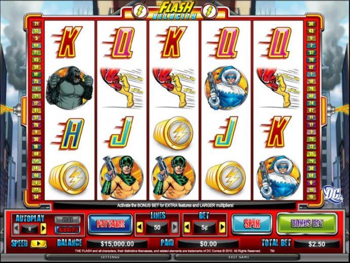 main game board featuring 5 reels and 50 paylines - No Deposit Casino Guide