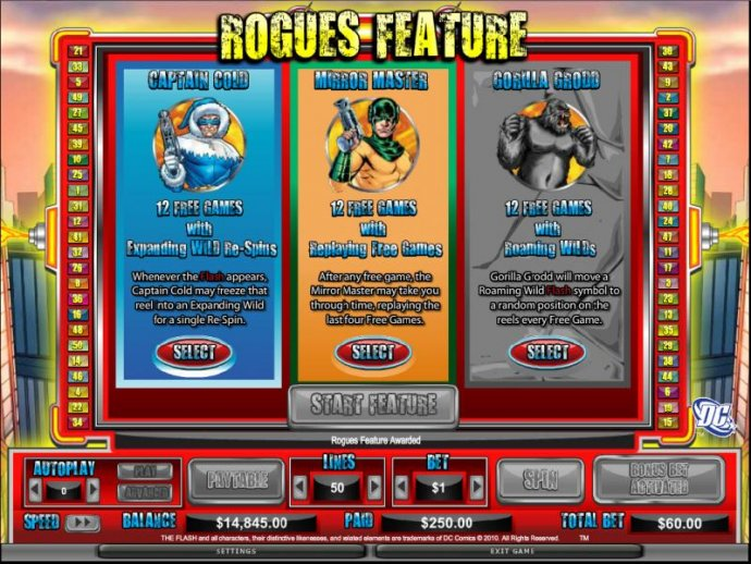 No Deposit Casino Guide - select a rogue feature