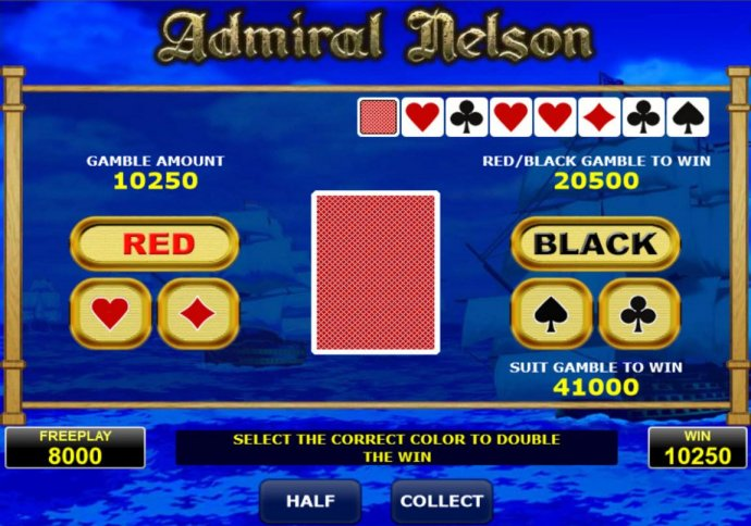 No Deposit Casino Guide - Gamble Feature - To gamble any win press Gamble then select Red or Black or suit