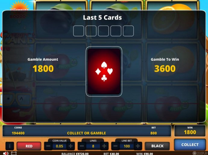 No Deposit Casino Guide - Gamble Feature - To gamble any win press Gamble then select Red or Black.