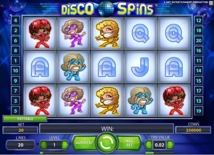 main game board featuring five reels and twenty paylines with a chance to win up to 230000 coins by No Deposit Casino Guide