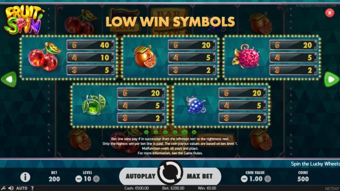 Low value game symbols paytable. by No Deposit Casino Guide