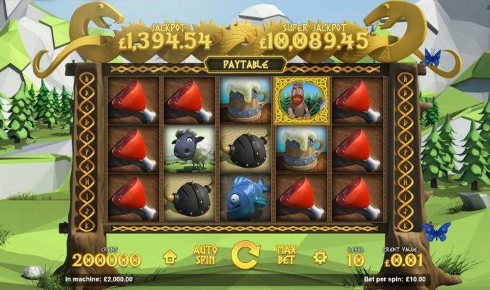 No Deposit Casino Guide - A Norse mythology themed main game board featuring five reels and 11 paylines with a progressive jackpot max payout