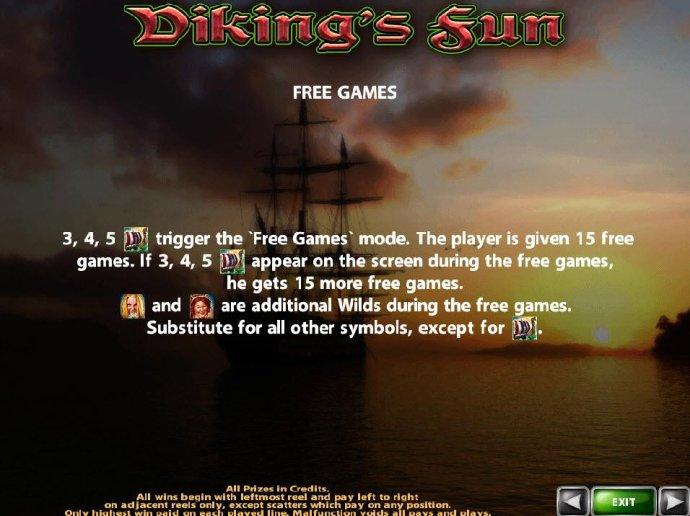 No Deposit Casino Guide - Three or more Viking ship scatter symbols awards 15 free games.