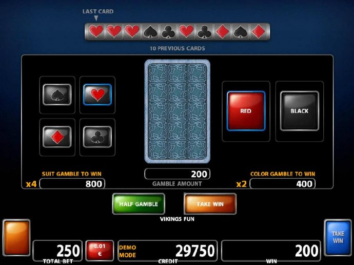 Double Up gamble feature is available after every winning spin. Select the correct color or suit for a chance to double your winnings. by No Deposit Casino Guide