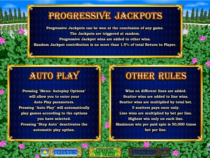 Progressive Jackpots can be won at the conclusion fo any game. Jackpots are triggered at random. Maximum win per paid spin is 50,000 times bet per line. by No Deposit Casino Guide