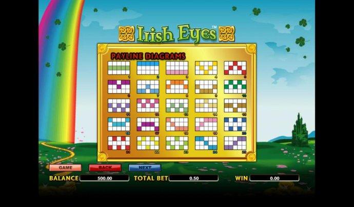 twenty-five payline diagrams by No Deposit Casino Guide