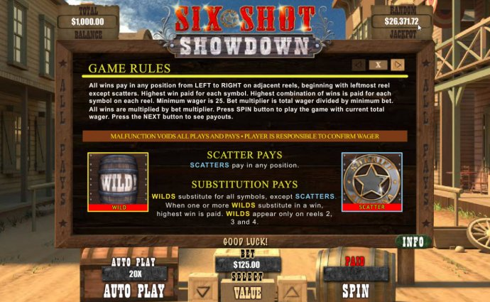Six Shot Showdown by No Deposit Casino Guide
