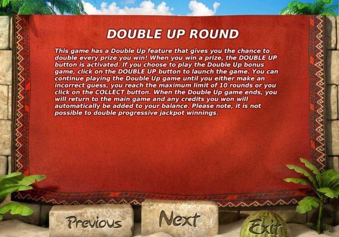 DOUBLE  UP ROUND - This game has a double up fueature that gives you a chance to double every prize you win. by No Deposit Casino Guide